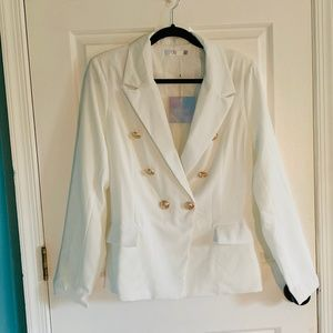 Missguided Military Blazer NWT size 10 white/gold